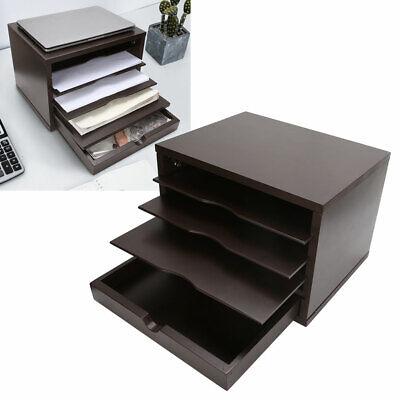 Desk Organizer Desktop Storage Drawer Pen Box Office File Holder Container Brown
