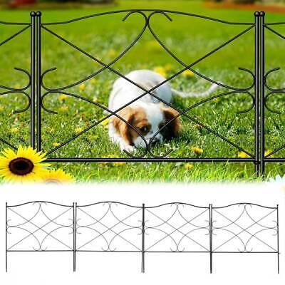 5 Panel Metal Garden Fence Gate Black Rustproof Outdoor Lawn Edge Animal Barrier