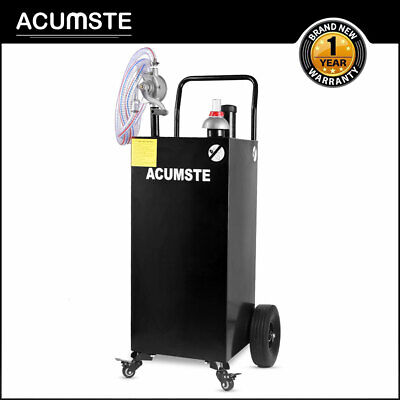 35 Gallon Gas Fuel Diesel Caddy Transfer Portable Tank W Pump Hose Wheels Black