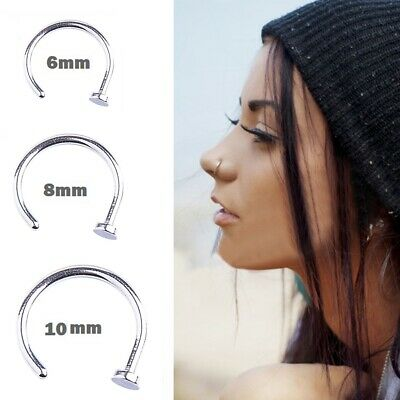 Jewelry Titanium Ring (20pcs Lot Nose Ring Titanium Plated Hoop 6mm 8mm 10mm Body Piercing Stud)
