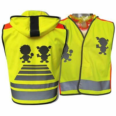 Personalised Kids Traffic Yellow High Visibility Safety Vest For Kids W Hood