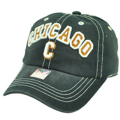 Chicago Chi Town Windy City Illinois Navy Blue Relaxed Hat Cap Adjustable USA  (Usa Windy City)