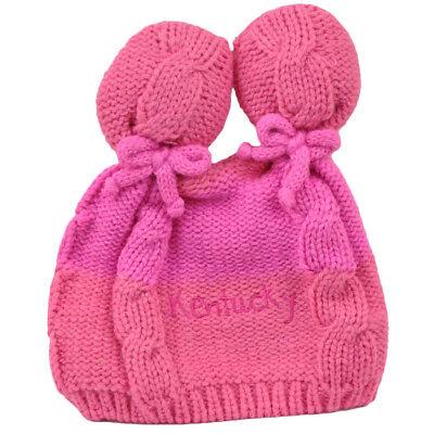 - Kentucky State Infant Striped Knit Beanie Pink Crochet Ear Ball Hat USA America
