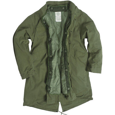 (Mil-Tec M65 Army Fishtail Shell Parka Military Vintage Mens Lined Jacket Olive)