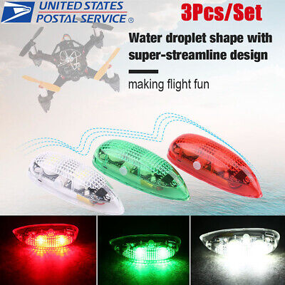3pc/set LED Drone Flash Light Remote Control for RC Fix Wing Plane Helicopter US