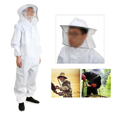 White Beekeeping Protection Equipment Veil Bee Keeping Full Body Suit Hat Smock
