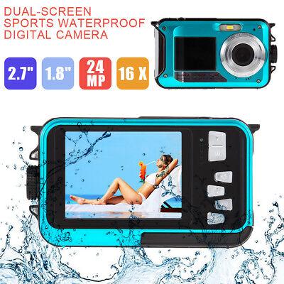 Waterproof HD 1080P 24MP 16x Digital Zoom Dive Camera Video Double LCD Screen US