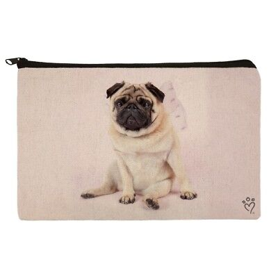 Pug Puppy Dog with Angel Wings Pink Makeup Cosmetic Bag Organizer Pouch