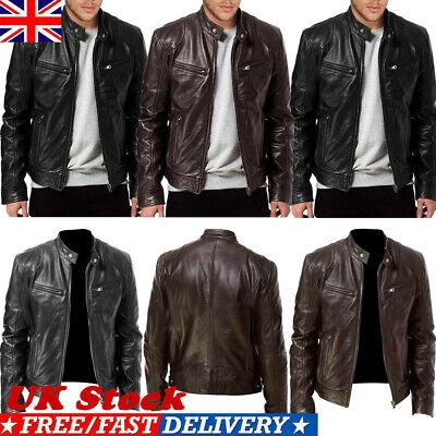 Men PU Leather Jacket BLACK & BROWN Slim Fit Biker Jacket Fashion Solid Coat UK