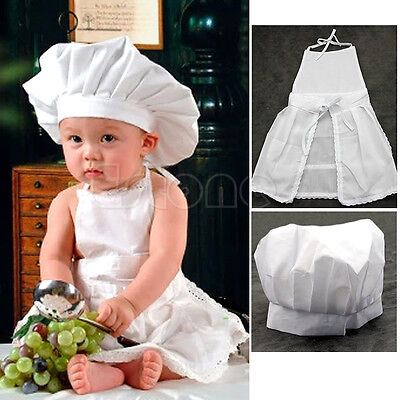 Cute White Baby Cook Costume Newborn Infant Photos Photography Prop Hat Apron