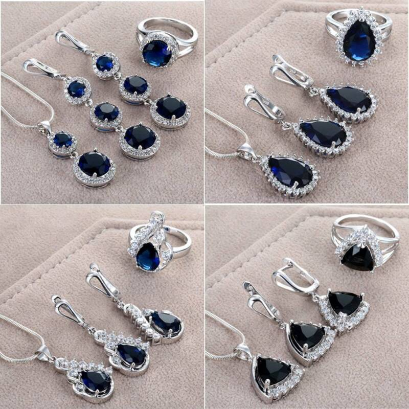 Fashion 925 Silver Jewelry Set Teardrop Sapphire Ring Earrin