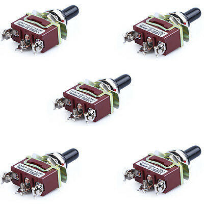 5x Heavy Duty 20A 125V SPDT 3 Term (ON)-OFF-(ON) Momentary Toggle Switch w/Boot