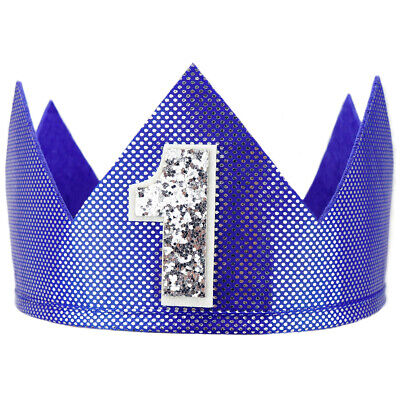 Party Place Costumes (Blue Shiny Number 1 Crown - First Birthday Party, 1st Place Winner Gift,)