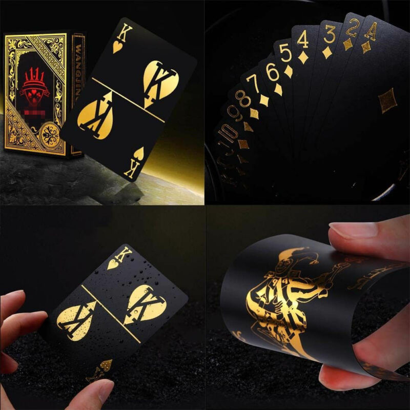 55pcs Gold Black Plastic PVC Poker Waterproof Magic Playing Cards Table Games