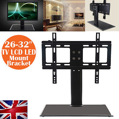 "Universal Table Pedestal Bracket Stand LCD/LED TV 26""-32"" Swivel Height Adjust"