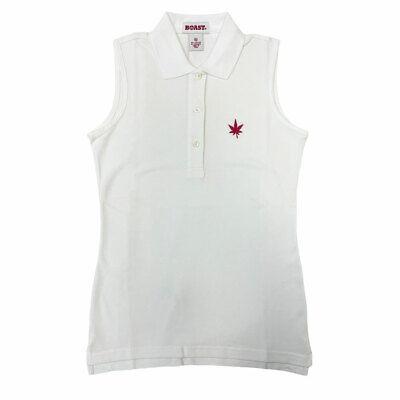 BOAST Women's White/Pink Leaf Sleeveless Pique Polo Top $65 NEW