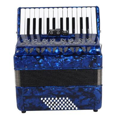 Blue 26-Key 48 Bass Accordion Hand Piano Accordion with Bag Strap for Beginners