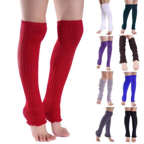 Women Girl Warm Knitted Wool Leg Warmers Crochet Long Socks
