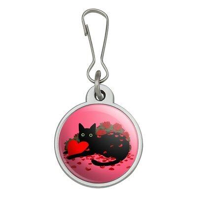 Rose Zipper Pull (Black Cat Valentines Heart Rose Petals Jacket Handbag Purse Zipper Pull)