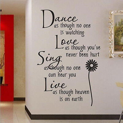 Vinyl Dance Love Sing Live Wall Decal Stickers Quotes Art DIY Mural Home Decor