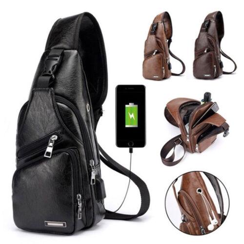 US Men Leather Chest Cycle Sling Pack Satchel Shoulder Bag S