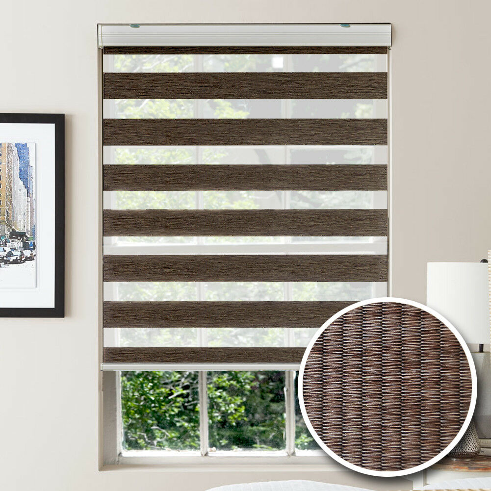 Window Blinds Blackout MAGIC Zebra Shade Two Layer Fabrics A