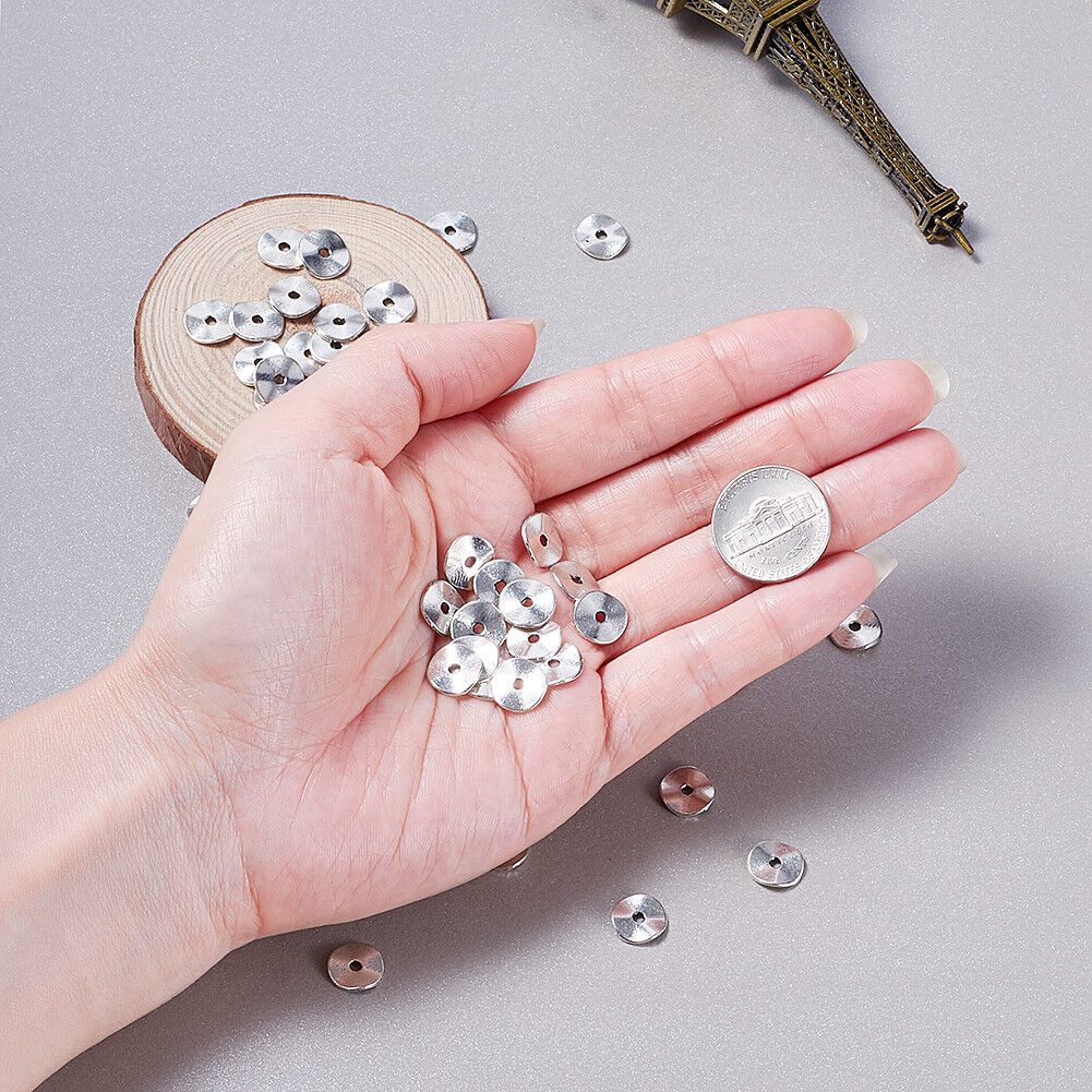 100pcs Tibetan Alloy Wavy Disc Metal Beads Smooth Nickel Free Loose Spacers 10mm