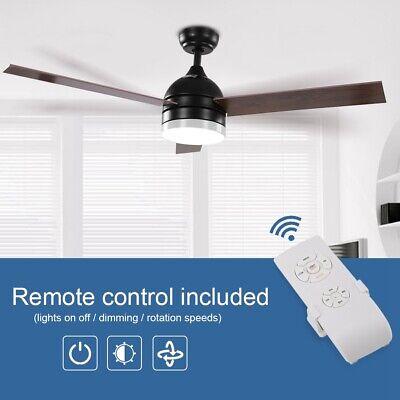 Deckenventilator mit Licht Fernbedienung Küchen Wohnzimmer Lüfter Lampe Schwarz