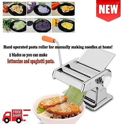 "الة صنع المعكرونة جديد 7"" Pasta Maker Machine Fresh Noodle Dough Ravioli Spaghetti Stainless Steel VP"