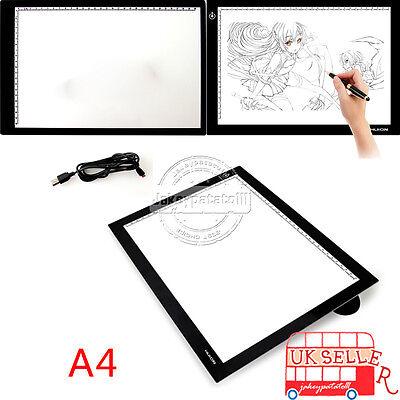 UK Large A4 LED Ultra Slim Art Craft Tracing Tattoo Light Box Pad Board Lightbox