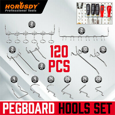 120 Pc Pegboard Hook Assortment Kit Storage Shop Garage Organizing Tools Hanger