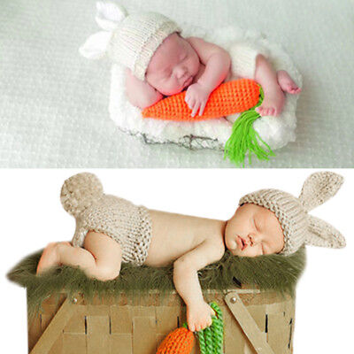 Newborn Baby Infant Bunny Knit Hat Crochet Costume Photo Photography Prop Set](Bunny Baby Costume)