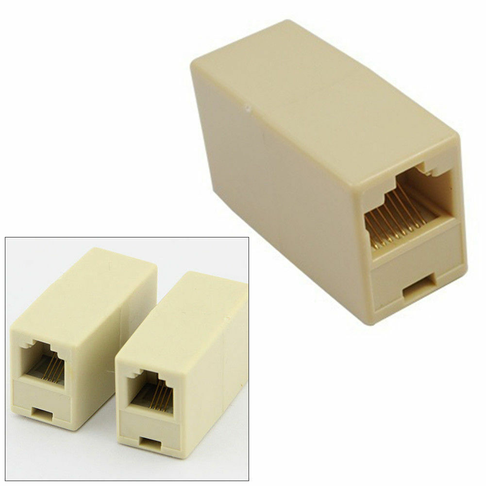 как выглядит 4C RJ11 Telephone Phone Jack Line Coupler Adapter Connector for Exten Cord Beige фото