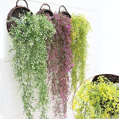Artificial Hanging Ivy Garland Plants Vine Fake Foliage Flower Wisteria Home Km