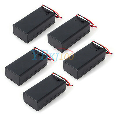 5pcs 9v Volt Battery Holder Box Case Dc With Wire Lead Onoff Switch Cover