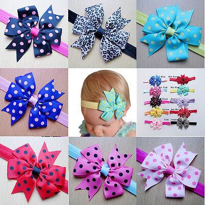 10Pcs Kids Girls Baby Toddler Cute Bow Headband Headwear Hair Band Accessories