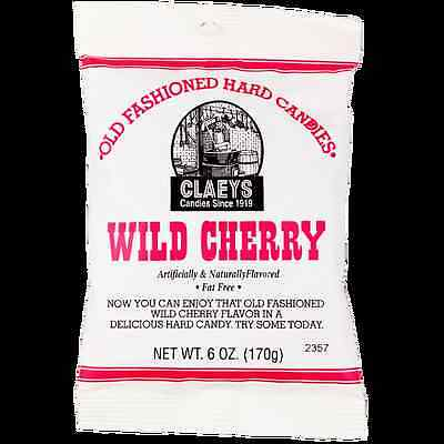 Claey's WILD CHERRY Old Fashioned Hard Candy (24) 6 OZ BAGS - FRESH & BEST PRICE