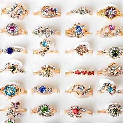 Wholesale Jewelry Lots 20pcs Crystal Rhinestone Gold Plated Rings Wedding Ring Crystal Rhinestone Bridal Rings