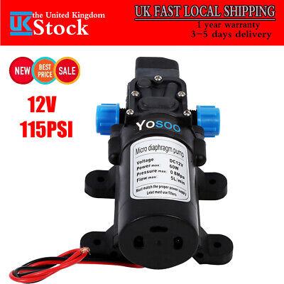 12V 115Psi High Pressure DC Micro Diaphragm Self Priming Water Pump 5L/min 60W