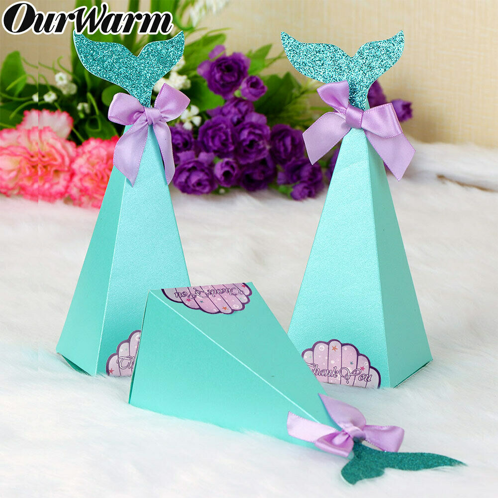 Details About 50x Diy Mermaid Paper Box Sweet Candy Box Birthday Party Baby Shower Gift Boxes
