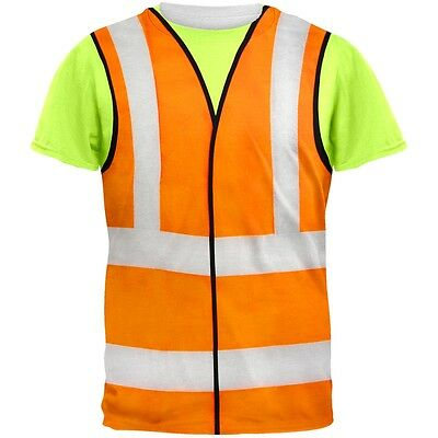 Halloween Road Worker Construction Vest Costume All Over Adult T-Shirt - Road Worker Halloween Costumes