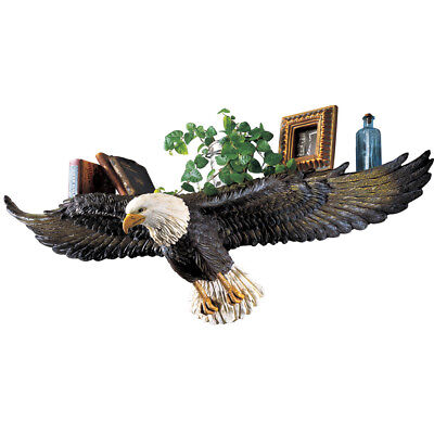 3D Sculpted Flying Bald Eagle Wall Shelf, Black, by Collections Etc
