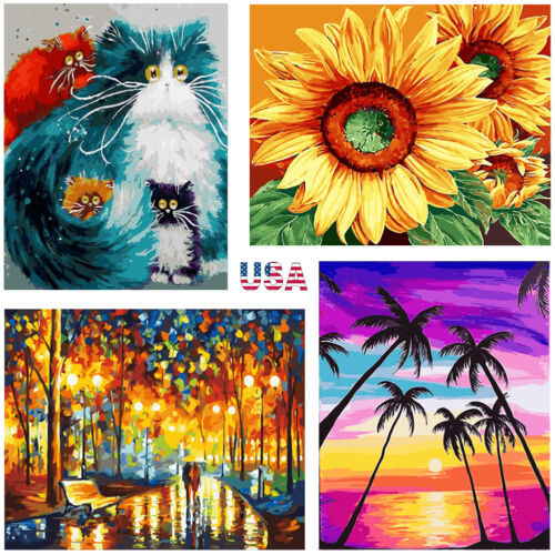 DIY Digital Canvas Painting Gift,Paint by Number Kits for Adults Kids Paint by Number Kits Home Decorations-Deer 16 20 inch