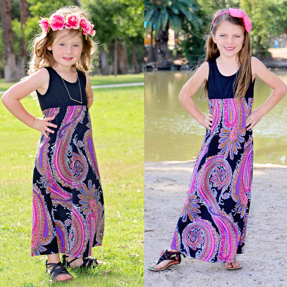 Toddler Kids Baby Girls Floral Summer Dress Beach Holiday Long Casual Dresses