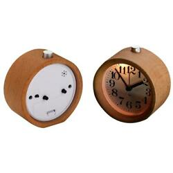Retro Desk LED Desktop Wooden Alarm Clock Round Silent With Night Light Decor