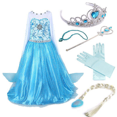 Snow Queen Kids Girls Dress Princess Party Dress Costume with Accessories 3-9Y+ (Queen Costume Accessories)