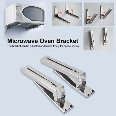 2x Stainless Steel Microwave Oven Wall Mount Bracket Foldabl