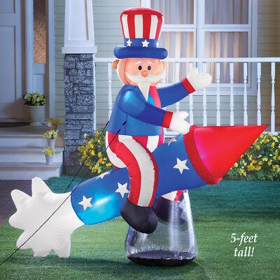 Riesig Patriotisch Onkel Sam auf Rakete 4th Juli Außen Airblown Aufblasbar