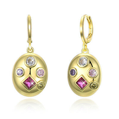 5 Stone Amethyst Drop Earrings in 18K Gold Filled made with Swarovski Crystals
