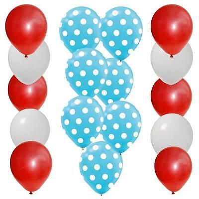 30pc BALLOON set 10 BLUE polka dot 10 RED 10 WHITE latex DR SEUSS - Red And White Polka Dot Balloons